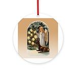 Angel Decorates Ornament (round)