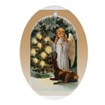Angel Decorates Ornament (Oval)