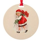 Christmas Poinsettia Girl Ornament