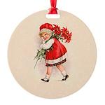 Christmas Poinsettia Girl Ornament