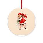 Christmas Poinsettia Girl Ornament (Round)