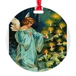 Angel And Christmas Tree Round Ornament