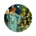 Angel and Christmas Tree Ornament (Round)