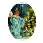 Angel and Christmas Tree Ornament (Oval)