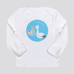 Stork Delivery of Cute Baby Boy Long Sleeve T-Shir
