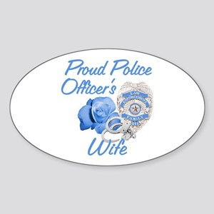 Blue Rose Police Wife Oval Sticker