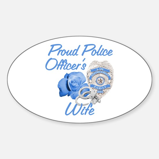 Blue Rose Police Wife Oval Decal