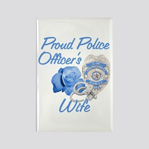 Blue Rose Police Wife Rectangle Magnet