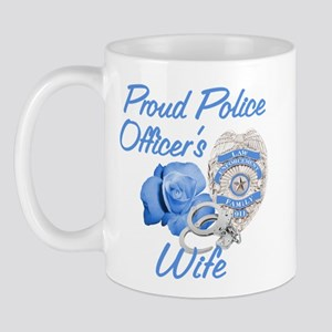 Blue Rose Police Wife Mug