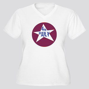 4th of July Women's Plus Size V-Neck T-Shirt