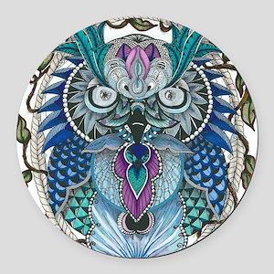 midnight Owl Round Car Magnet