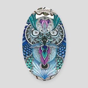 midnight Owl Oval Car Magnet