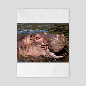 Happy African Hippo in water Twin Duvet