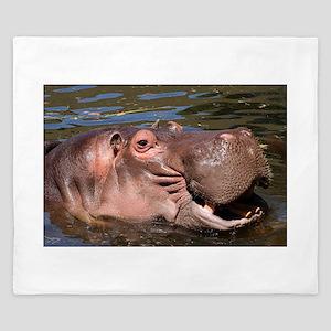 Happy African Hippo in water King Duvet