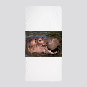 Happy African Hippo in water Beach Towel