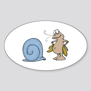 Hermit Crab Out of His Shell Oval Sticker