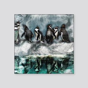 "Penguins on ice Square Sticker 3"" x 3"""