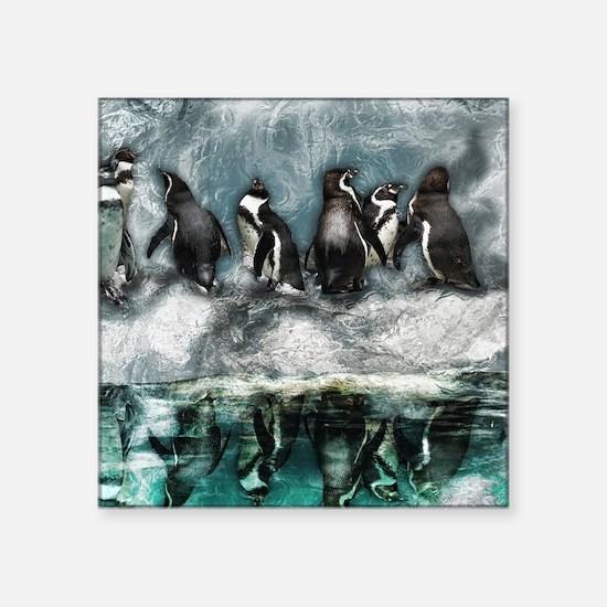 "Penguins on ice Square Sticker 3"" x 3"""