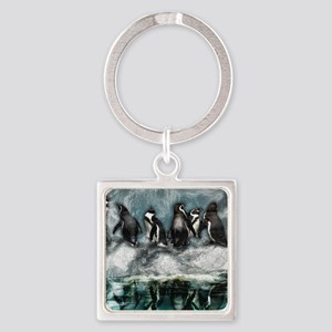 Penguins on ice Square Keychain