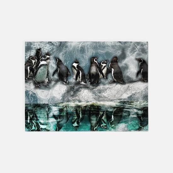 Penguins on ice 5'x7'Area Rug