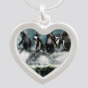 Penguins on ice Silver Heart Necklace