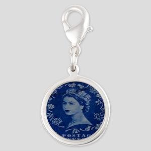Queen Elizabeth stamp blue inv Silver Round Charm