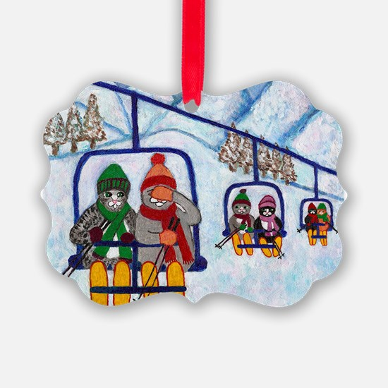 Cats on a Ski Lift in the Snow Ornament