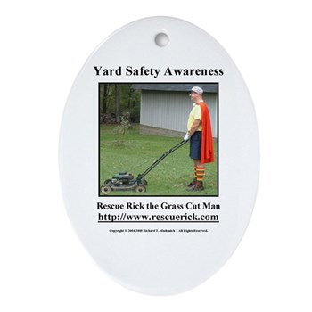 Yard Safety Awareness Oval Ornament