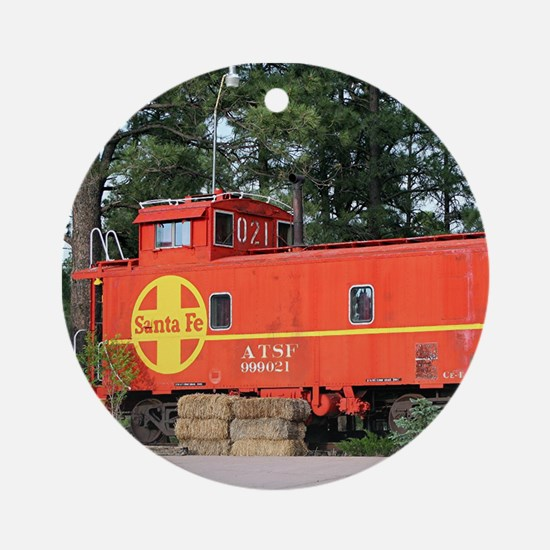 Santa Fe Railway Train Caboose, W Ornament (Round)