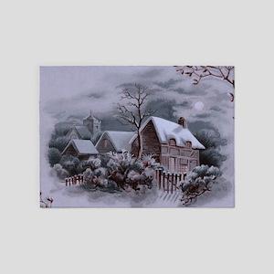 Christmas Winter Scene 5'x7'Area Rug