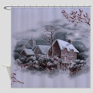 Christmas Winter Scene Shower Curtain