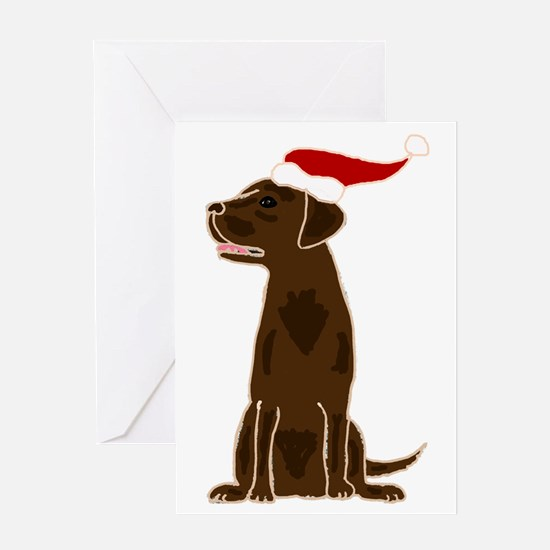 Christmas Chocolate Labrador Greeting Cards