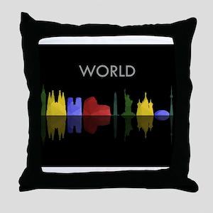skyline world Throw Pillow
