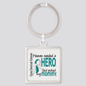 Cervical Cancer HeavenNeededHero1. Square Keychain