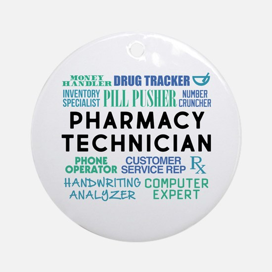 Pharmacy Technician Word Cloud Round Ornament