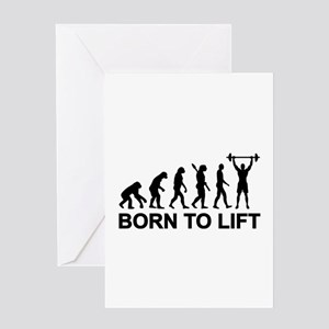 Powerlifting greeting cards cafepress evolution born to lift weightlifting greeting card m4hsunfo