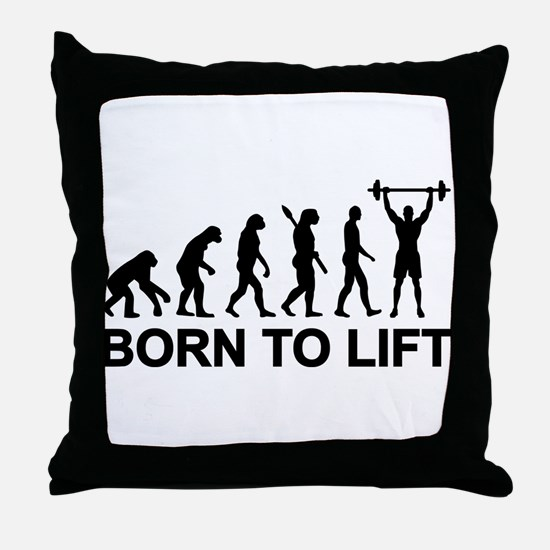 Evolution born to lift weightlifting Throw Pillow