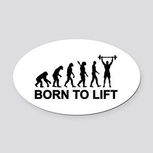 Evolution born to lift weightlifti Oval Car Magnet