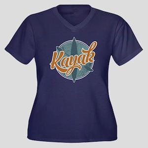 Kayak Emblem Women's Plus Size V-Neck Dark T-Shirt