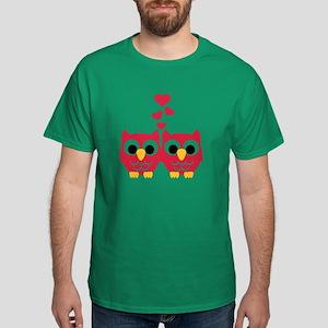 Red owls hearts Dark T-Shirt
