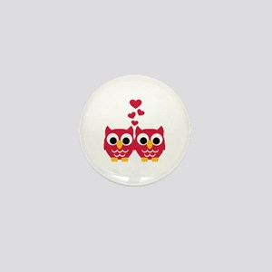 Red owls hearts Mini Button