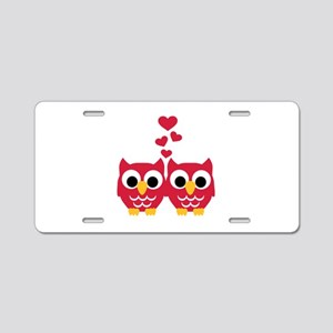 Red owls hearts Aluminum License Plate