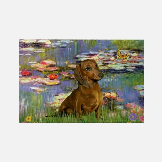 Lilies & Dachshund Rectangle Magnet