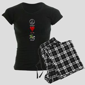 Peace Love Wine Women's Dark Pajamas