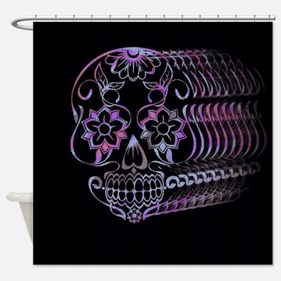 Ghastly Sugar Skull Shower Curtain