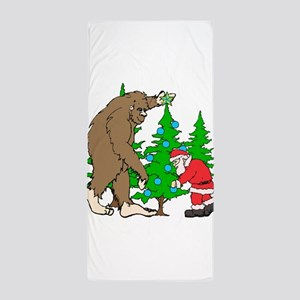 Bigfoot, Santa Christmas Beach Towel