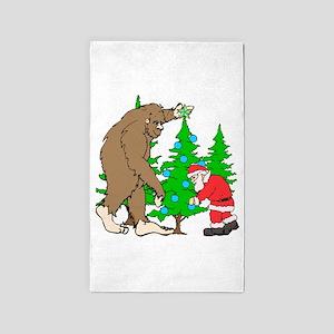 Bigfoot, Santa Christmas Area Rug