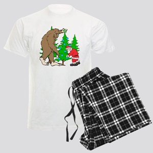 Bigfoot, Santa Christmas Men's Light Pajamas