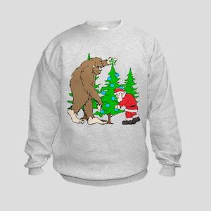 Bigfoot, Santa Christmas Kids Sweatshirt