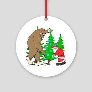 Bigfoot, Santa Christmas Ornament (Round)